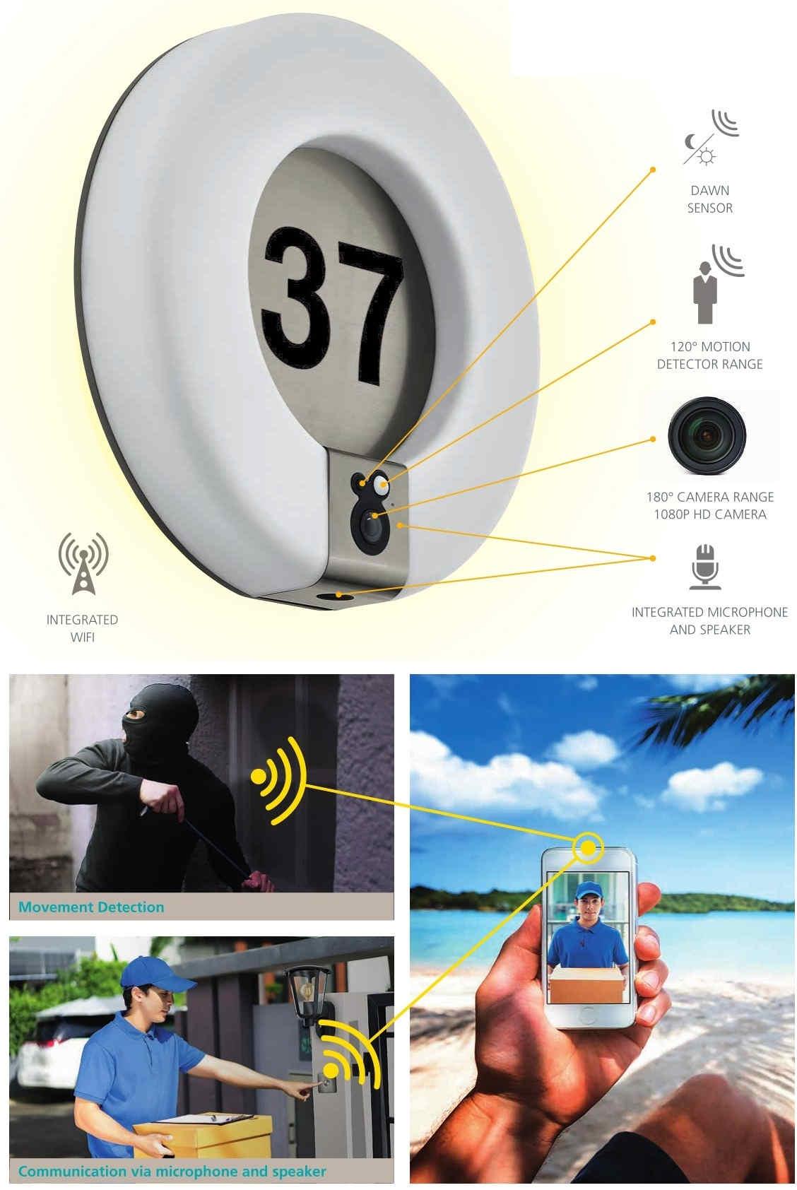 applique per esterno con telecamera sicurezza