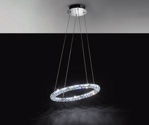LAMPADARIO ANELLO DI CRISTALLO 60CM LED 24W 4000K PER CAMERA DA LETTO