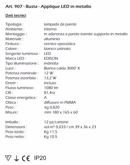 ISYLUCE APPLIQUE LED 12W 3000K METALLO BIANCO MODERNA