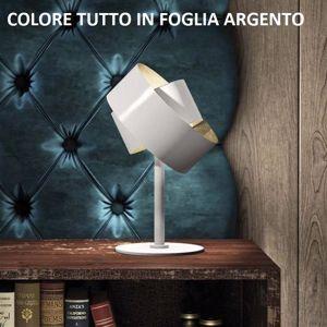 MARCHETTI PURA ABAT-JOUR DA COMODINO IN METALLO FOGLIA ARGENTO