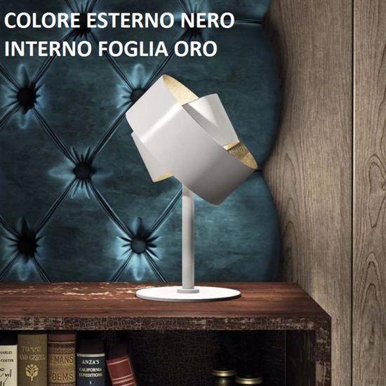 PURA MARCHETTI LAMPADE DA COMODINO MODERNE NERO E FOGLIA ORO