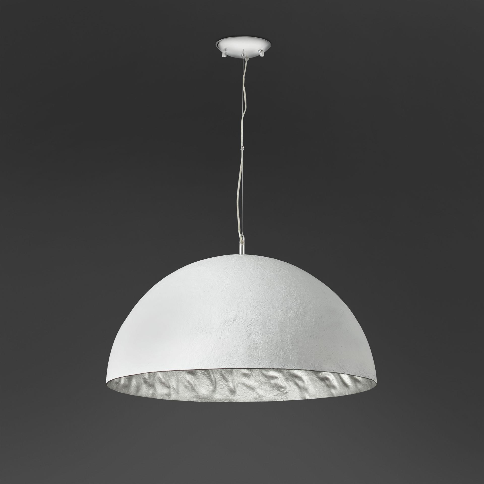 GRANDE LAMPADARIO DA SOGGIORNO CUPOLA 70CM BIANCO ARGENTO - 28398