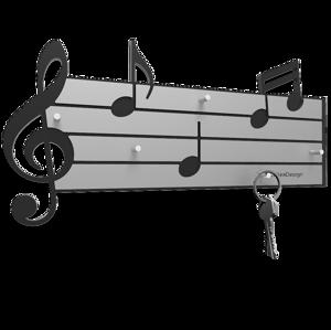 APPENDICHIAVI MUSICALE DA PARETE LEGNO NERO E GRIGIO CALLEA DESIGN