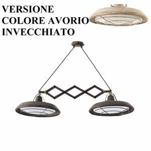 LAMPADARIO VINTAGE BIANCO ANTICATO IP44 LED 30W 2700K FISARMONICA ESTENSIBILE