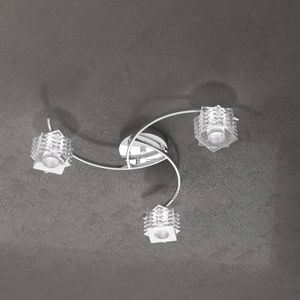 PLAFONIERA MODERNA PER SALOTTO 3 LUCI IN VETRO TOP LIGHT RUBIK