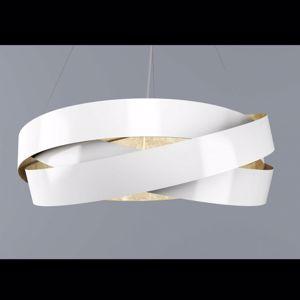 LAMPADARIO A LED MODERNO LED 33W 3000K 60CM BIANCO INTERNO FOGLIA ORO PURA
