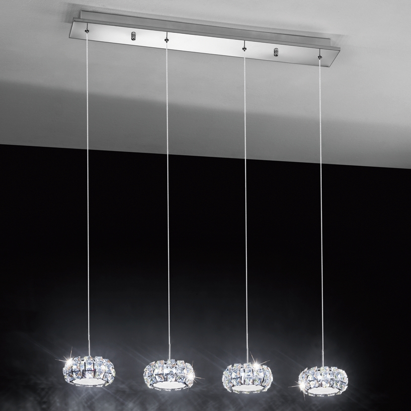 Lampadario A Sospensione Elegante Per Cucina Led 20w 4000k Cristallo