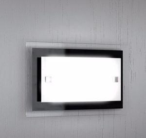 APPLIQUE MODERNE IN METALLO NERO E VETRO TOP LIGHT TRAY 30X20