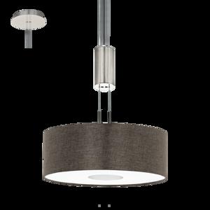 LAMPADARIO LED 15,5W 3000K MODERNO CILINDRO IN TESSUTO MARRONE
