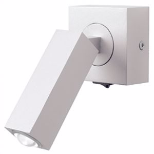 APPLIQUE BIANCO CAMERA DA LETTO LED 3W 3000K ORIENTABILE DESIGN SQUADRATO CON INTERRUTTORE