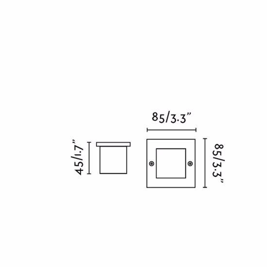 SEGNAPASSO LED DA ESTERNO INCASSO PARETE 0,8W 3000K IP65 QUADRATO ACCIAIO INOX 304