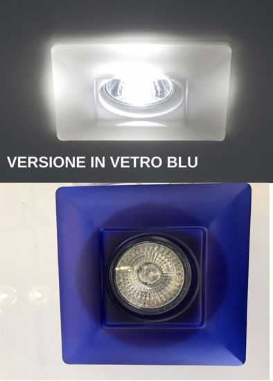 FARETTO DA INCASSO VETRO BLU PER CONTROSOFFITTO QUADRATO GU10 LED