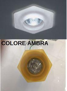FARETTO DA INCASSO ESAGONALE PER CONTROSOFFITTO VETRO AMBRA GU10 LED