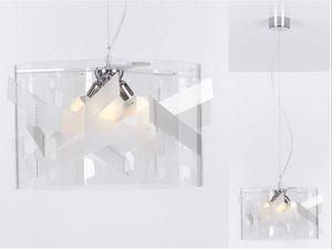 LAMPADARIO DESIGN MODERNO DA SALOTTO MATERIALE PLASTICO TRASPARENTE