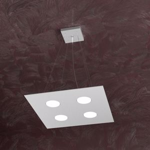 LAMPADARIO CUCINA 4 LED INTERCAMBIABILI METALLO GRIGIO QUADRATO TOPLIGHT AREA