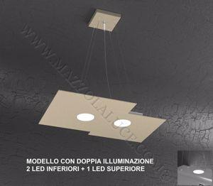 TOP LIGHT PLATE LAMPADARIO MODERNO PER CUCINA SABBIA TORTORA DOPPIA ILLUMINAZIONE