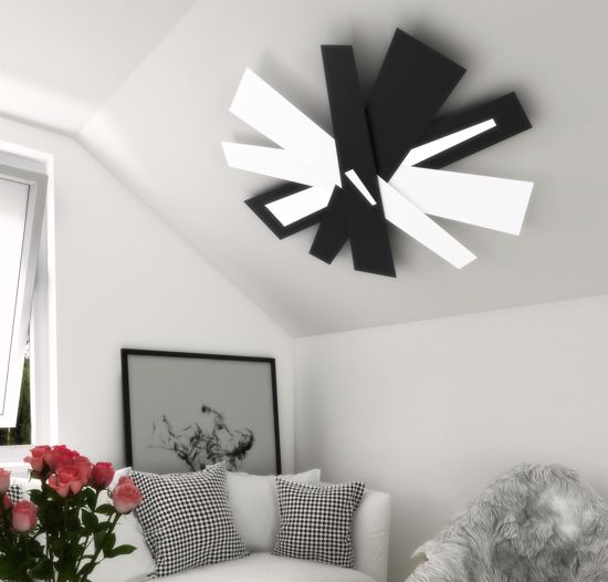 TOP LIGHT RIBBON MODERNA PLAFONIERA DESIGN LED 20W METALLO BIANCO SABBIA