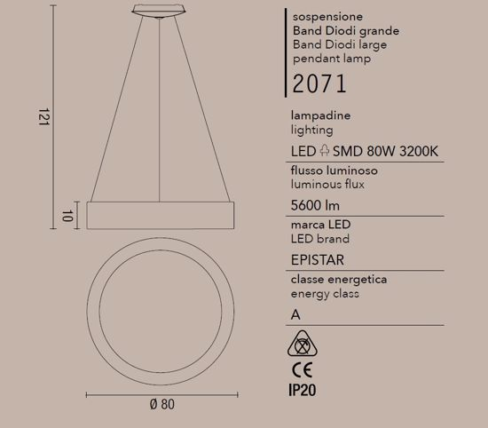 GRANDE LAMPADARIO MODERNO LED 80W 3200K CERCHIO BIANCO PER SALOTTO BAND DIODI