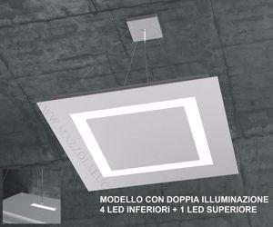 LAMPADARIO LED 95.5W 58CM GRIGIO DOPPIA ILLUMINAZIONE DESIGN MODERNO
