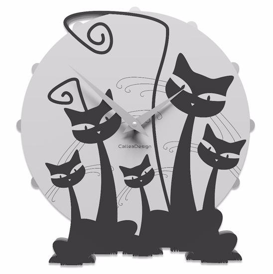 CALLEA DESIGN GATTI OROLOGIO MODERNO DA PARETE LEGNO NERO FAMILY CATS