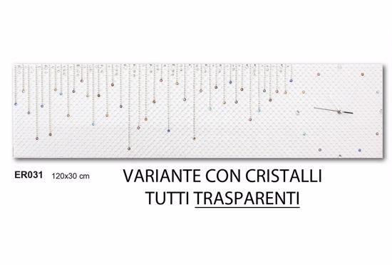 OROLOGIO DA PARETE PARTICOLARE TESSUTO TRAPUNTATO BIANCO CON CRISTALLI TRASPARENTI