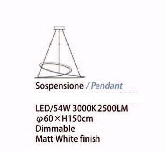 LAMPADARIO DESIGN MODERNO 60CM LED 54W 3000K DIMMERABILE BIANCO PER SOGGIORNO