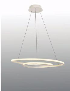 LAMPADARIO MODERNO 80CM DESIGN BIANCO LED 60W 3000K LUCE DIMMERABILE