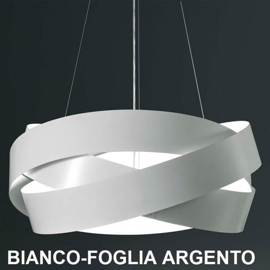 MARCHETTI PURA LAMPADARIO MODERNO 60CM 3XE27 BIANCO E FOGLIA ARGENTO
