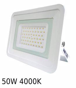 APPLIQUE DA ESTERNO FARO PROIETTORE LED 50W 4000K IP65 SLIM BIANCO