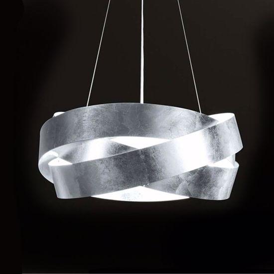 Lampadario A Sospensione Design.Marchetti Pura 60cm 3xe27 Lampadario Sospensione Design Foglia Argento