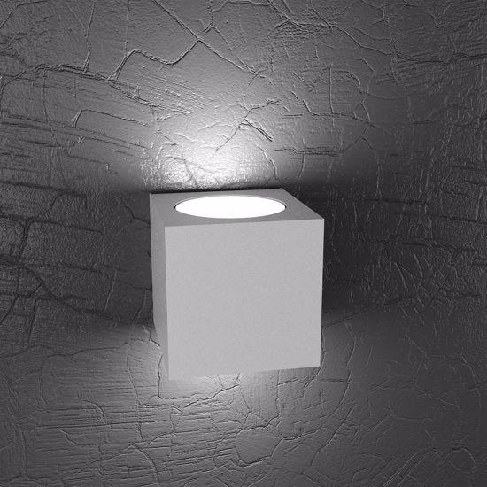 APPLIQUE LED CUBO GRIGIO DOPPIA LUCE LAMPADA DA PARETE MODERNA
