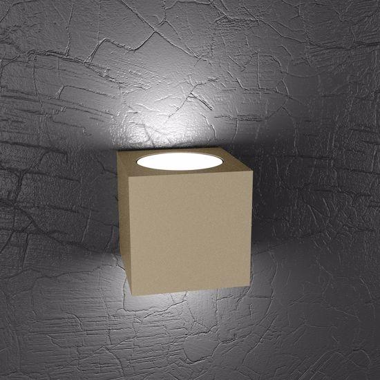APPLIQUE CUBO LED METALLO TORTORA PER INTERNI TOP LIGHT PLATE