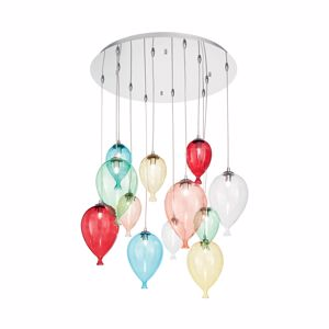 LAMPADARIO PALLONCINI DI VETRO COLORATO PER CAMERATTA IDEAL LUX CLOWN SP12 COLOR