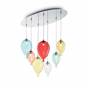 LAMPADARIO PALLONCINI CAMERETTA VETRO COLORATI IDEAL LUX CLOWN SP7 COLOR
