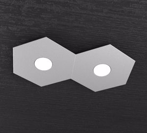TOP LIGHT PLAFONIERA MODERNA 2 LUCI LED INTERCAMBIABILI METALLO GRIGIO
