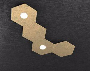 TOP LIGHT PLAFONIERA LED COMPONIBILE 2 LUCI + 2 PLACCHE FOGLIA ORO