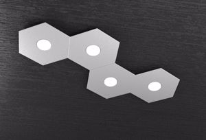 PLAFONIERA LED 4 LUCI HEXAGON DESIGN TOPLIGHT METALLO GRIGIO