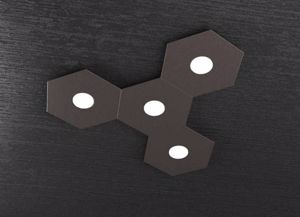 PLAFONIERA MARRONE LED 4 LAMPADE INTERCAMBIABILI TOP LIGHT HEXAGON