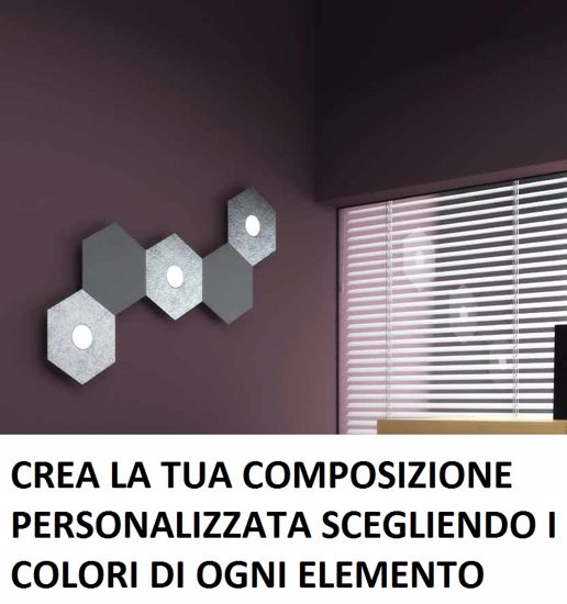 PLAFONIERA FOGLIA ORO 3 LUCI LED + 2 PIASTRE METALLO TOP LIGHT HEXAGON