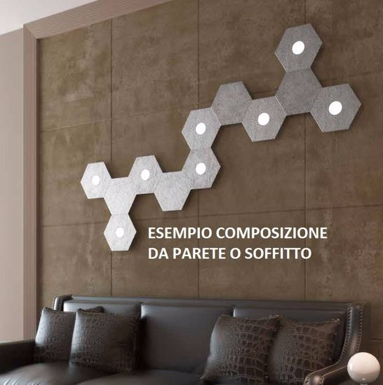 TOP LIGHT HEXAGON PLAFONIERA LED GRIGIO DESIGN MODERNO