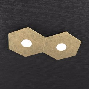 TOPLIGHT PLAFONIERA LED HEXAGON 2 LUCI MODERNA DECORO FOGLIA ORO