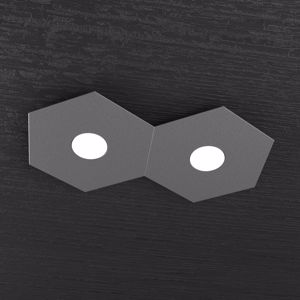 PLAFONIERA LED 2 LUCI INTERCAMBIABILI GRIGIO ANTRACITE TOPLIGHT HEXAGON