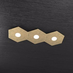 PLAFONIERA LED 3 LUCI MODERNA DECORO FOGLIA ORO TOP LIGHT HEXAGON