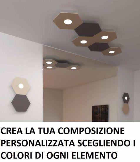 TOPLIGHT HEXAGON PLAFONIERA LED 5 LUCI DECORO FOGLIA ARGENTO