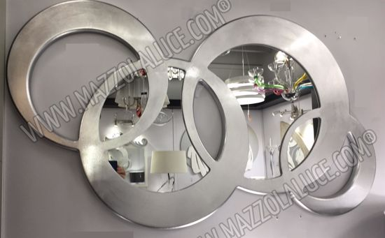 PINTDECOR CIRCLES SPECCHIO CONTEMPORANEO DA PARETE FOGLIA ARGENTO C124