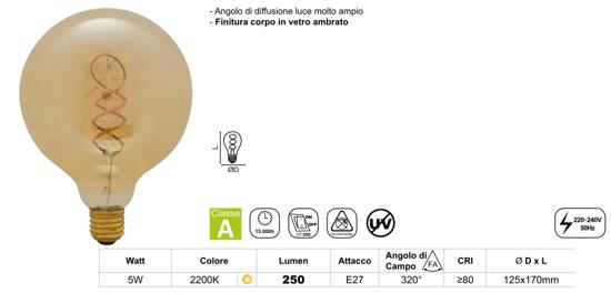 LAMPADINA GLOBO E27 LED 5W 2200K FILAMENTO VETRO AMBRATO VINTAGE