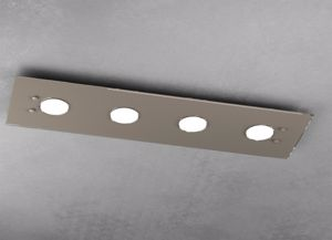 TOP LIGHT PATH PLAFONIERA LED PER CUCINA MODERNA VETRO TORTORA 4 LUCI