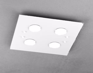 PLAFONIERA QUADRATA LED PER CUCINA MODERNA VETRO BIANCO TOP LIGHT PATH