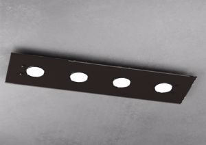 PLAFONIERA LED PER UFFICIO MODERNO VETRO MARRONE LUCIDO TOP LIGHT PATH