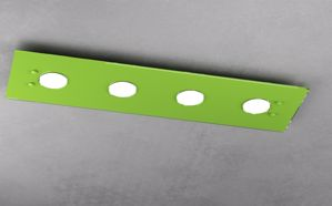 PLAFONIERA LED 4 LUCI VETRO LUCIDO VERDE PER CAMERETTA TOP LIGHT PATH